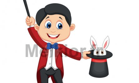 illusioniste avec lapin et baguette magique